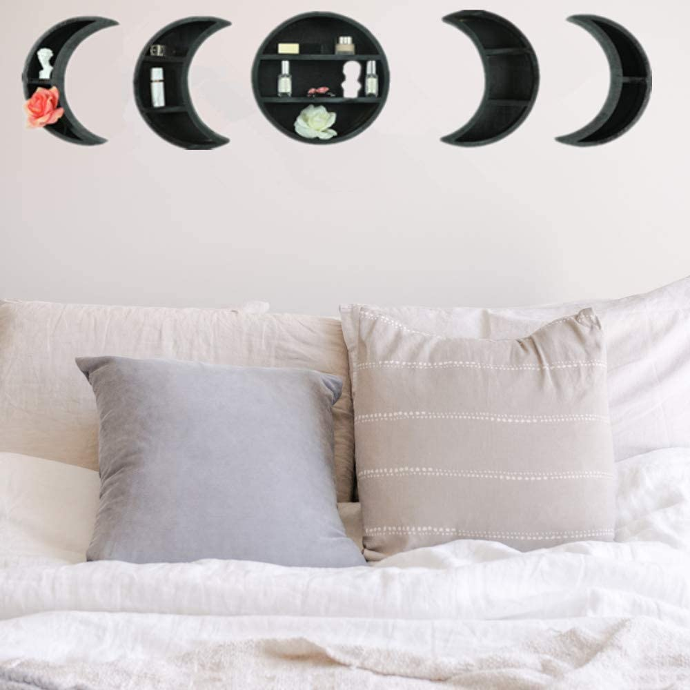 YDZXB Scandinavian Wall Mounted Moon Charlotte Mall Wooden Online limited product Shelv Floating Shelf