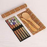 IYSHOUGONG 1 juego para hacer sushi, principiante, hacer sushi, esterilla de bambú para sushi, herramienta para principiantes, 2 alfombrillas para sushi, 5 pares de palillos, 1 paleta y 1 esparcidor