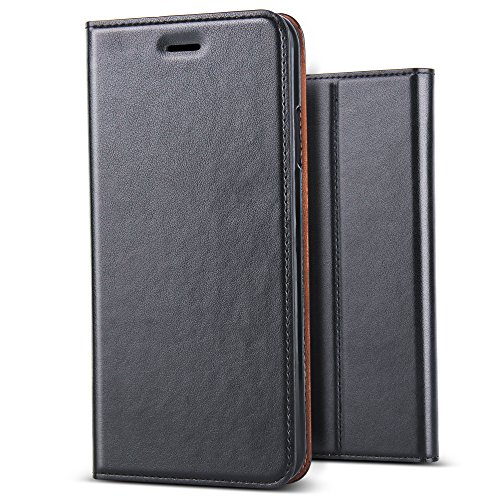 B BELK iPhone Xs Case, iPhone X Case, [Simple Retro Style] Handmade Soft Leather Flip Folio Slim Wallet Cover Case[Magnetic Closure][Credit Card Slot][TPU Bumper][Kickstand] for iPhone Xs/X