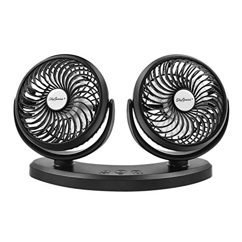 Dual Head USB Powered Car Cooling Fan, 3 Speed Adjustable Auto Fan for Car SUV RV Boat Truck Vehicles Golf, Mini Desk Fan Home Office(5V, 2A)