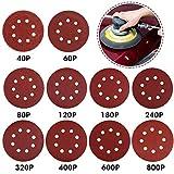Rovtop - 100 dischi abrasivi a 8 fori, 100 dischi abrasivi da 125 mm, con gancio e anello di carta vetrata 40/60/80/120/180/240/320/400/600/800 per levigatrice orbitale.