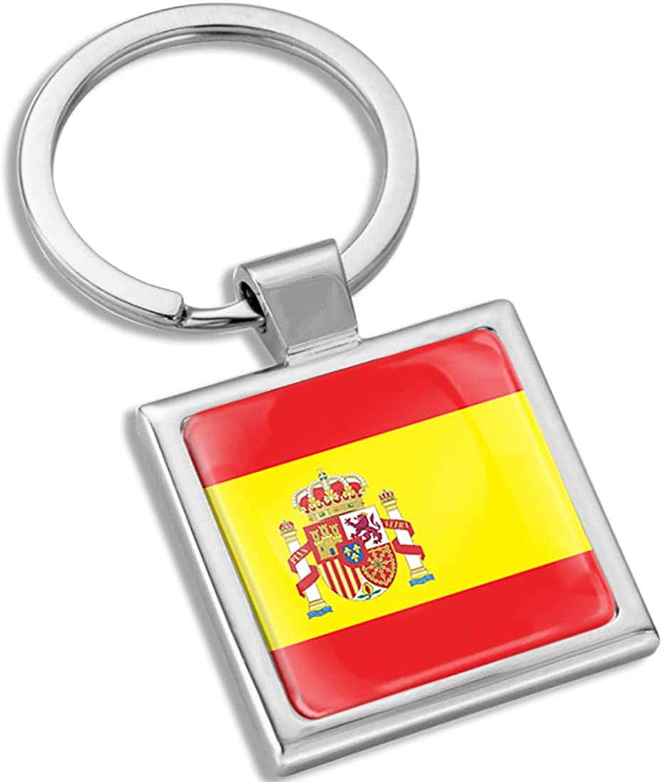 Biomar Labs 3D Metal Keyring Key Chain Gift Men Women Keychain Giftbox Spain Spanish National Flag KK 287