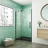 Mampara de ducha abatible,90x195cm,frontal 2 hojas con antical,perfilería negra,estilo industrial,Cristal templado de 8 mm,incluye barra de soporte 30 cm