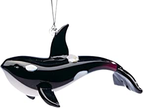 Dynasty Gallery New Hand Blown Glass Black and White Orca Whale Ornament or Figurine