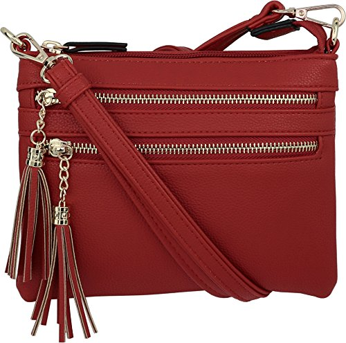 B BRENTANO Vegan Mini Multi-Zipper Crossbody Handbag Purse with Tassel Accents (Red)