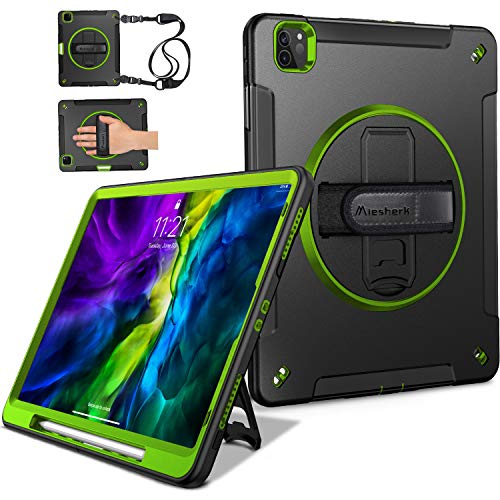 Miesherk iPad Pro 11 Case 2020 2nd Generation/2018 1st Gen with Pencil Holder, [20ft Drop Tested] Upgrade Military Grade Shockproof Protective Cover with 360° Rotating Stand Hand/Shoulder Strap -Green