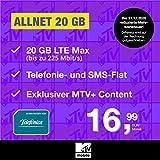 Handyvertrag MTV Mobile Allnet 20 GB - Internet Flat, Allnet Flat Handyie und SMS in alle Deutschen Netze, MTV+, EU-Roaming, 24 Monate Laufzeit