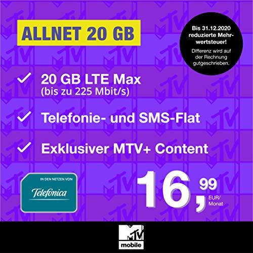 Handyvertrag MTV Mobile Allnet 20 GB - Internet Flat, Allnet Flat Telefonie & SMS in alle Deutschen Netze, MTV+, EU-Roaming, 24 Monate Laufzeit