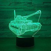 3Dナイトライトクールタンク3Dナイトライトタッチスイッチ7色変更Ledテーブルランプナイトライト家の装飾子供のおもちゃギフト