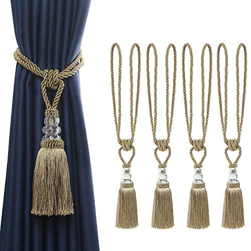 BEL AVENIR 4 Pack Curtain Hand-Woven Tiebacks Crystal Holdbacks Home Decorative Tassels (Golden, 4 Pack)