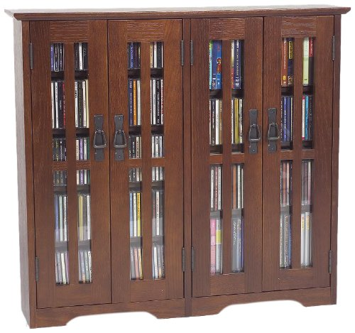 Leslie Dame Wall Mounted Mission Style Media Storage Cabinet, Walnut