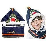 2mason Children's Hooded Warmer Beanie Hat and Shawl Integrated Dinosaurus Navy