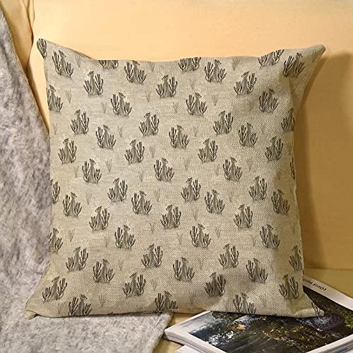 Best-design Funda de almohada de lino con diseño de gato grande, funda de almohada de microfibra, fundas de cojín para sofá al aire libre, jardín, cama, cojines de 45 x 45 cm