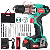 Cordless Drill Driver 20V, HYCHIKA Power Drill Set 330 In-lb Torque,1500 RPM,1.5Ah Li-Ion Battery, 1H Fast Charger, 21+1 Clutch, 2 Variable Speed & Built-in LED for Drilling Wood, Metal and Plastic