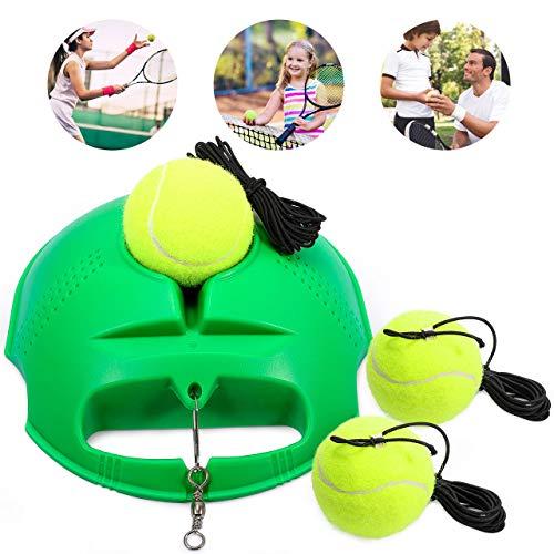 Fostoy Tennis Trainer, Tennistrainer Set Trainer Baseboard mit 3 Rebound Ball, Selbststudium Übungs-Trainingswerkzeug Tennistrainingsausrüstung für Solotraining Erwachsener Kinder Anfänger (Grün)