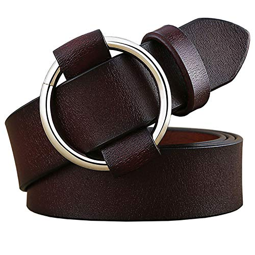 Fashion Round Ring buckle belt woman 2019 Genuine leather belts for women Quality Second layer cowskin strap,Coffee,90cm
