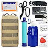Emergency EDC Survival Gear Kit - Personal Water Filter Purifier Straw, Molle Pouch Tactical Trauma Defense Equitment Tools But Out Bag for Camping Hiking Adventure Fishing Hurricane