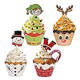 Guanici Navidad Cupcake Toppers Envoltorios de Pastel de Navidad Bricolaje Papeles magdalenas Reno de muñeco de nieve elfo de Santa Claus Decoración de cupcakes para fiesta de Navidad 48 piezas