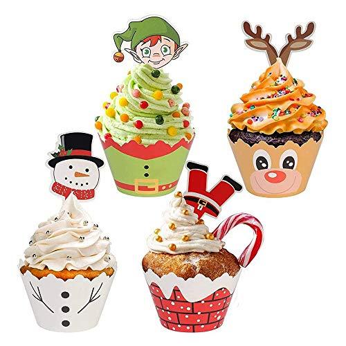 Guanici Weihnachten Cupcake Wrappers Papier Muffin Förmchen Papier DIY Kuchen Muffin Liner Dekoration Kuchen Weihnachtsmann Elf Schneemann Rentier Cupcake Dekoration für Weihnachtsfest 48 Stücke