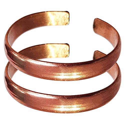 Hand Forged 100% Copper Bracelet for Men & Women ~ Made with Solid and High Gauge Pure Copper ~ Relief of Joint Pain, Arthritis, Joint Inflammation and Skin Allergies (Set of 2, Plain Copper)
