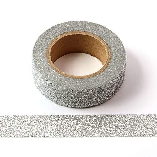 2 rotoli di nastro adesivo Washi con glitter, adesivo decorativo, 15 mm x 5 metri (argento)