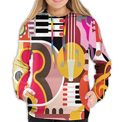 MLNHY Women's Hoodies Tops,Complex Graphic with Various Musical Properties Icons Keyboard Festival Piano Design,Hoodie Sweatshirt Apparel for Women,Lady, Teens and Girls,Size:S