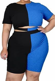 Womens Plus Size 2 Piece Outfit Sports Tracksuit Color Block T Shirt Tops Shorts Jogger Set