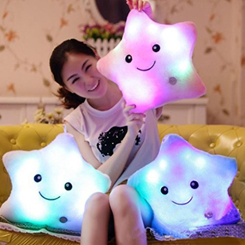 HKFV Magical Unique Lighting Cushion Star Shaped Glowing LED Pillow 7 Color Changing Light Up Soft Cushion (Pink)