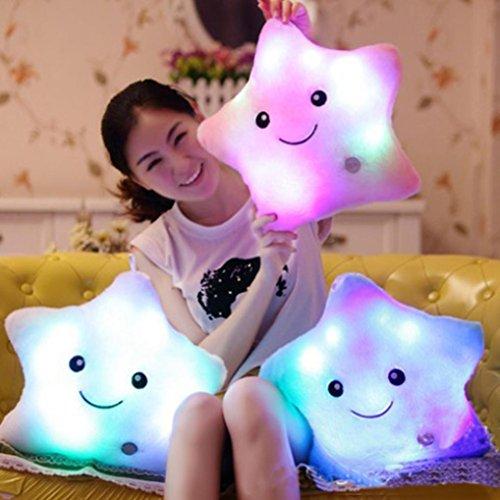 HKFV cojín mágico con iluminación led, con distintas formas, cambia de color, 7 colores, suave, decoración para el hogar, Rosa, 38CMX38CM
