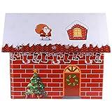 BESPORTBLE Navidad Cartón Nieve Casa Invierno País de Las Maravillas Pequeño Rojo 3D Pueblo Cabaña Juguete Foto Prop Vacaciones Chimenea Escaparate Modelo de Cabina para Tienda
