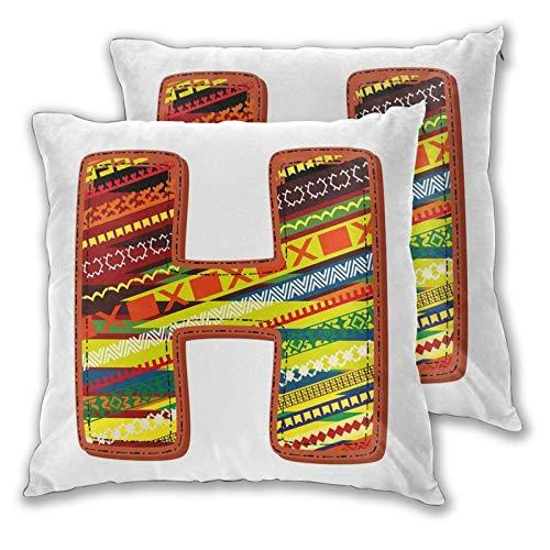 FULIYA 2 fundas de almohada decorativas del alfabeto con el nombre de los niños del bebé con figuras prehistóricas de la escuela, decoración del hogar cuadrada de 50 x 50 cm