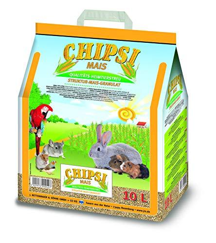 Chipsi Lecho para Conejos de Maíz 10L (15 kg). Lecho para Pájaros, Hamsters, Cobayas, Roedores con Materiales Naturales Biodegradables, Ecológicos.