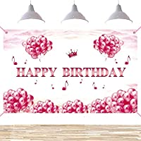 lovedomi 7x5ft ピンクの風船空雲女の子お誕生日おめでとうパーティー写真背景写真スタジオブース背景家族休暇誕生日パーティー写真スタジオ小道具写真ビニール素材