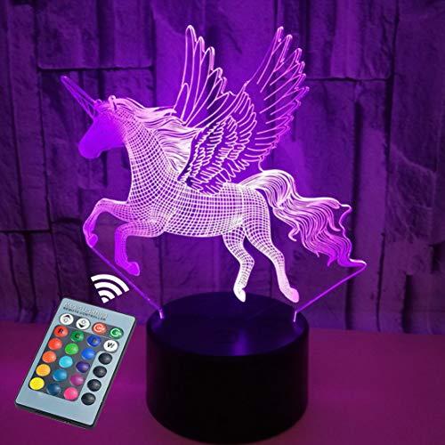 Luz nocturna infantil Unicornio, iluminación 3D, 16 colores de cumpleaños para niños y regalos navideños controlados por control táctil y remoto(Black Unicorn)