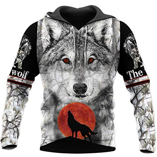 The Wolf 3D All Over Printed Fashion Hoodie Hombre Mujer Otoño Harajuku Chaqueta Casual Beige 3XL