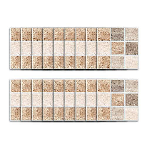 wivarra 18 Piezas Etiqueta Engomada Autoadhesiva de Azulejos de Protector contra Salpicaduras de Cocina DecoracióN de Pared de BaaO Palo de Piel Impermeable Azulejos de PVC 10X10Cm MTS006