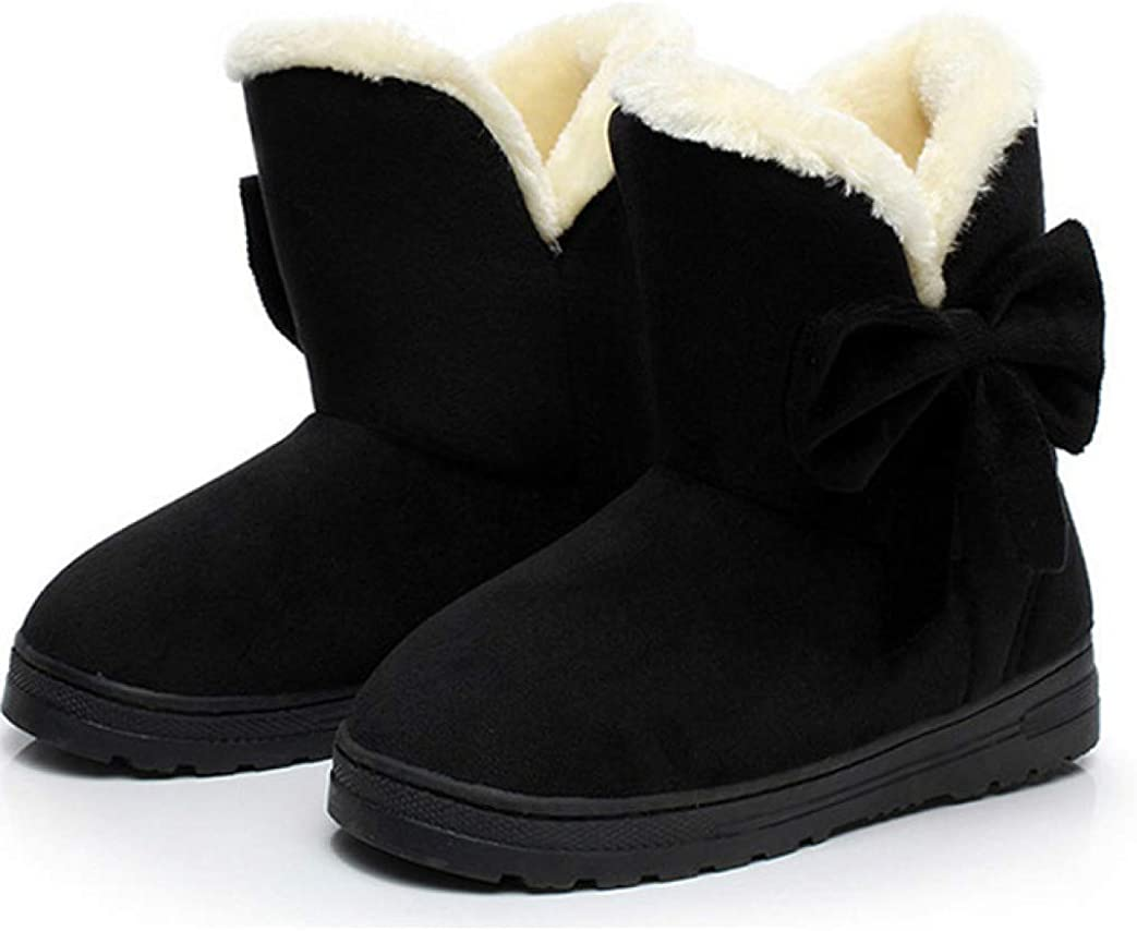 ChyJoey Women's Snow Boots Winter Ankle Bootie Ladies Bowknot Round Toe Shoes Casual Fashion Cmfort Platform