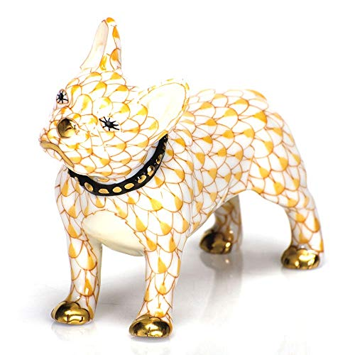 Herend Puppy Dog Frenchie Porcelain Figurine Butterscotch Fishnet
