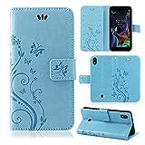 betterfon | LG K20 Hülle Flower Hülle Handytasche Schutzhülle Blumen Klapptasche Handyhülle Handy Schale für LG K20 Blau