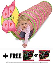 Melissa & Doug Bella Butterfly Crawl Tunnel: Sunny Patch Outdoor Play Series + Free Scratch Art Mini-Pad Bundle