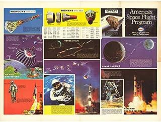 Space NASA America Flight Program 1969 Chart Art Print Canvas Premium Wall Decor Poster Mural Espace Amérique Vol Mur Déco...