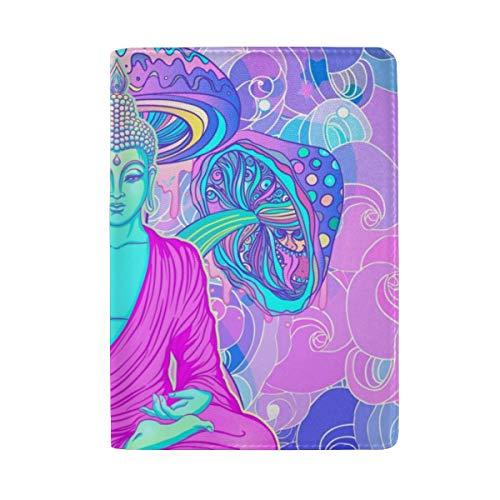 Passport Holder Cover Buddha- Leather ID Card Case Travel Wallet Document Organizer, WangH 6.5' x 4.5'
