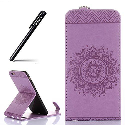 iPhone 6s Plus Hülle Leder,BtDuck Wallet Flip Cover Case mit Magnet Soft Backcover Schutzhülle für iPhone 6 Plus/6s Plus 5.5 mit Lanyard Strap Stand Function Credit Card Slots - Helles Lila