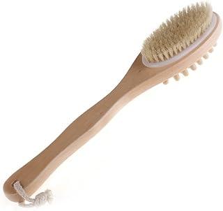 asiproper ボディブラシ 2in1 剛毛 シャワーブラシ 背中ブラシ ハードタイプ お風呂用 マッサージブラシ 毛穴洗浄 体洗い 35cm