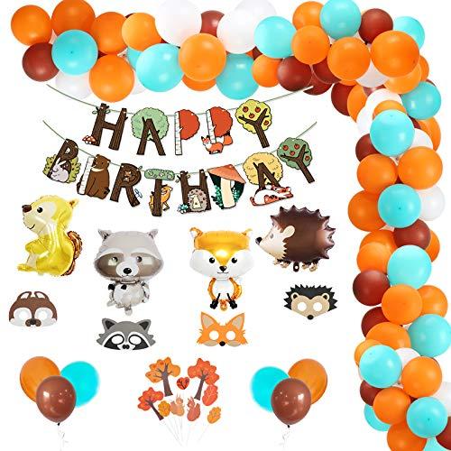MEZOOM Decoracin de Fiesta de Bosque Decoracione de Cumpleaos de Animales de la selva Globos Gigantes de Papel de Aluminio Mscaras faciales de Amigos del bosque con pancarta de HAPPY BIRTHDAY