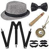 Sinoeem Accessori da uomo anni '20 con cappello Panama Gangster regolabile elastico bretelle da uomo, papillon, orologio da tasca e sigari in plastica (grigio)