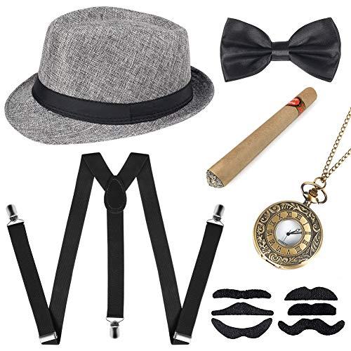 Sinoeem 1920s Herren Accessoires Inklusive Panama Gangster Hut Verstellbar Elastisch Hosenträger Herren Halsschleife Fliege Taschenuhr und Plastik Zigarre (Grau)