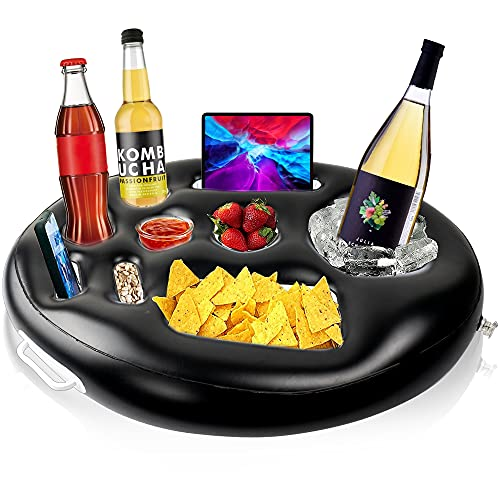 FUNPENY Inflatable Pools Buffet Coolers, Floating Cooler Serving Bar, 9 Holes Drink Holder Accessories for Outdoor Pool Game Beach Hot Tub Spa (Black)