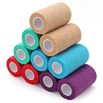3 Inch Vet Wrap Cohesive Bandage Wrap 10 Rolls Self-Adherent Wrap Medical Tape Self Adhesive Bandage Wrap Non-Woven First Aid Tape for Dogs Horses Cat Pet Ankle Sprains & Swelling