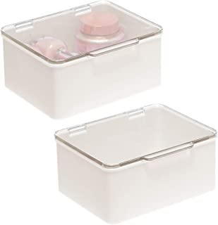 mDesign Rangement Maquillage en Plastique pour évier Salle de Bain – Boite Maquillage avec Couvercle pour pinceaux, Make-u...